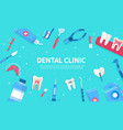 dental clinic poster with border icons vector image