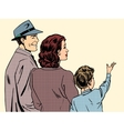 family mom dad and son retro style pop art vector image vector image