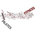 fitness and pilates text background word cloud vector image vector image
