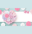 flowers in heart shape with copy space vector image vector image