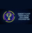 glowing neon sign with award cup in round frame vector image vector image