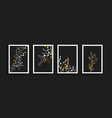 gold black nature plant leaf poster set isolated vector image