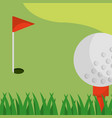 golf field red flag ball on tee vector image vector image
