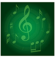 green background with spiral music staff vector image