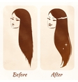 Hair before and after vector image vector image