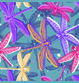 hand drawn stylized dragonflies seamless pattern vector image vector image