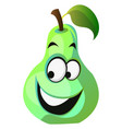 happy pear cartoon face on white background vector image vector image