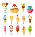 ice cream cones topped with sprinkles fruits vector image