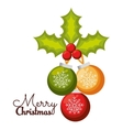 merry christmas balls holly berry design vector image vector image