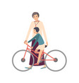 mom teaching daughter ride bicycle mother showing vector image