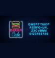 neon burger cafe glowing signboard with alphabet vector image vector image