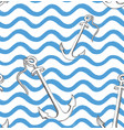 ocean wave seamless pattern with anchor stylish vector image vector image