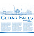 outline cedar falls iowa skyline with blue vector image vector image