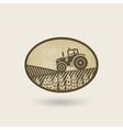 oval label with the landscape tractor in field vector image