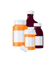 pharmacy bottles concept in flat style vector image