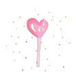 pink lollipop heart shape fun cartoon icon vector image