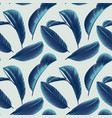 seamless pattern hand drawn blue guava leaves vector image vector image