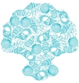 Seashells background in the shape of a seashell vector image