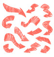 set of hand-drawn doodle coral arrows on vector image
