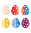 six colorful easter eggs set vector image