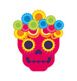 Skull flowers the day of the death mexican