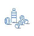 sport water bottle dumbbells and fitness bracelet vector image