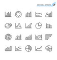statistics line icons editable stroke vector image