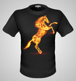 t shirts Black Fire Print man 01 vector image vector image