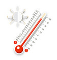 thermometer with sun icon hot weather symbol vector image vector image