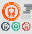 train icon on red blue green orange buttons vector image vector image