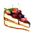watercolor piece of chocolate cake vector image
