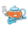 with guitar transparent teapot character cartoon vector image