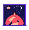 woman with glass wine in starry sky vector image vector image