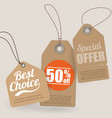 retro style cardboard sale tags vector image