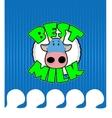 Cow gets a milk bath vector image