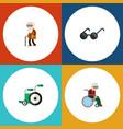 flat icon handicapped set of ancestor wheelchair