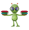 alien with books on white background vector image