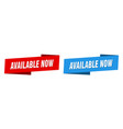 available now banner now ribbon label vector image vector image