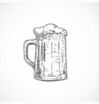 beer mug with foam abstract sketch hand drawn vector image vector image