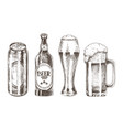 bottles and goblets set isolated on white backdrop vector image
