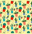 cactus pot pattern flat style vector image vector image