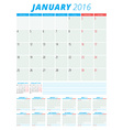 Calendar 2016 flat design template Set of 12 vector image