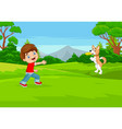 Cartoon boy playing frisbee with his dog in pa