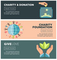 charity and donation fund flat web banners vector image vector image