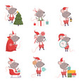 collection cute mouse in christmas santa claus vector image