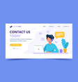 contact us landing page man with headphones and vector image