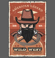 cowboy in hat with revolvers wild west vector image vector image