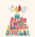doodle cute bird on present boxes mountain idea vector image vector image
