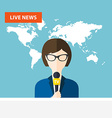 Female TV presenters sit at the table Live news vector image vector image