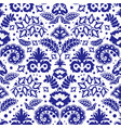 folk tatar blue ornament seamless pattern vector image vector image